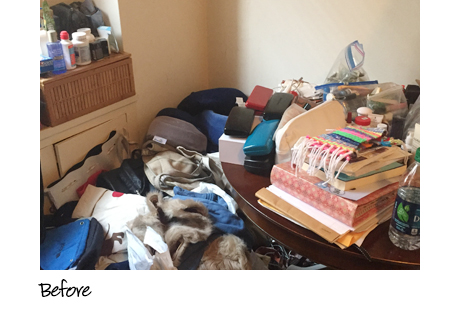 Beth Brenner Client Story Before the Transformation Cluttered Table and Room