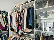 Grasie Mercedes Client Story Large Walk in Closet with Glass Doors and Nickel Clothing Racks