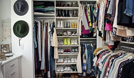 Grasie Mercedes Client Story Organized Walk in Closet in White Finish with Hanging Clothing Storage