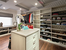 Liberte Chan Client Story Large Walk in Closet in Adriatic Mist Finish with Stainless Hardware