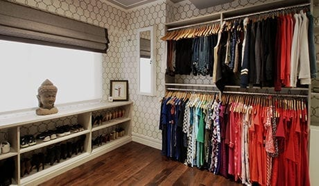 Liberte Chan Client Story Walk in Closet Redesign with Closet Rods and White Sh