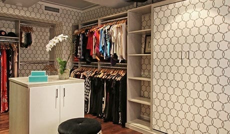 Liberte Chan Client Story Walk in Closet with Circular Decorative Pattern and Large Sliding Doors