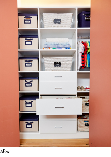 Sophie Donelson Client Story Organized White Reach In Closet with Stainless Hardware