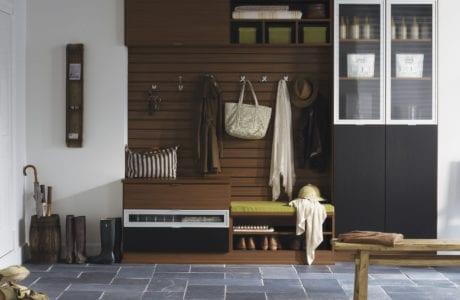 California Closets Brown themed Mudroom Closet