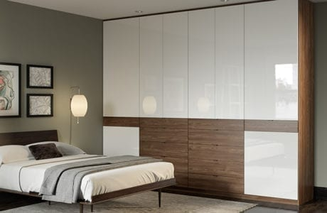 Walnut Built in Bedroom Storage with Dresser Dawers and High Gloss White Cabinets