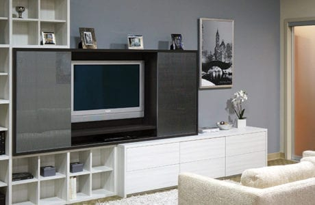 California Closets White themed Entertainment Center