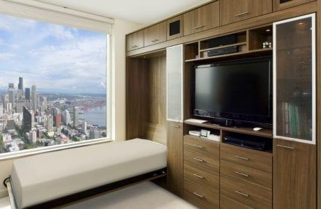California Closets Murphy folding bed overlooking city