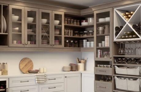 California Closets custom pantry with wine rack and shelving for utensils