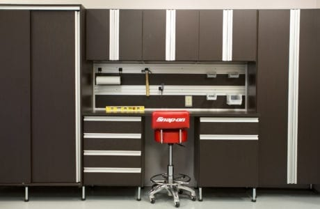 Dark Brown Garage Storage with Cabinets Drawers Tool Rack and Work Space