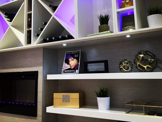 California Closets Twin Cities - Prince-inspired library wall featuring purple LED lighting