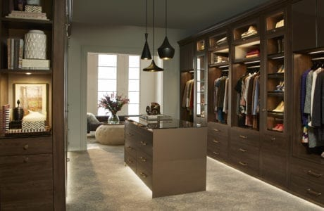 Dark Wood Themed Walk in Closet