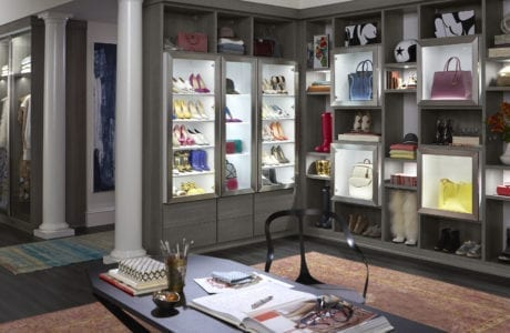 Dark Grey Walk in Wardrobe with Cabinets Shelving and Lighed Display Shelves