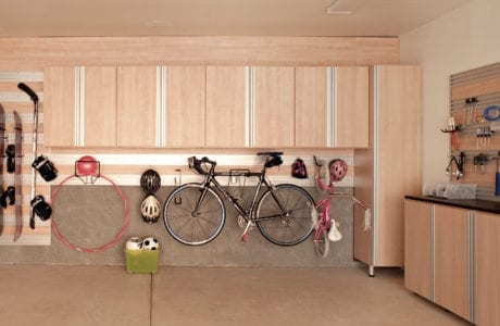 California Closets Blond Wood Garage Storage System Austin