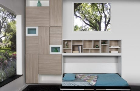 California Closets Murphy Bed Design with tan Cabinets and white shelves