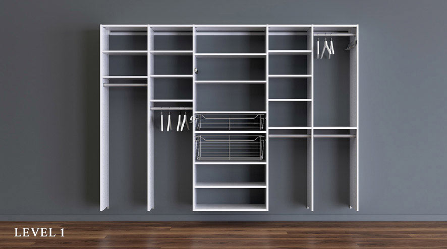 Design to your Budget Level 1 minimalist shelving unit featuring multiple compartments with pull out wire baskets and hanging rods