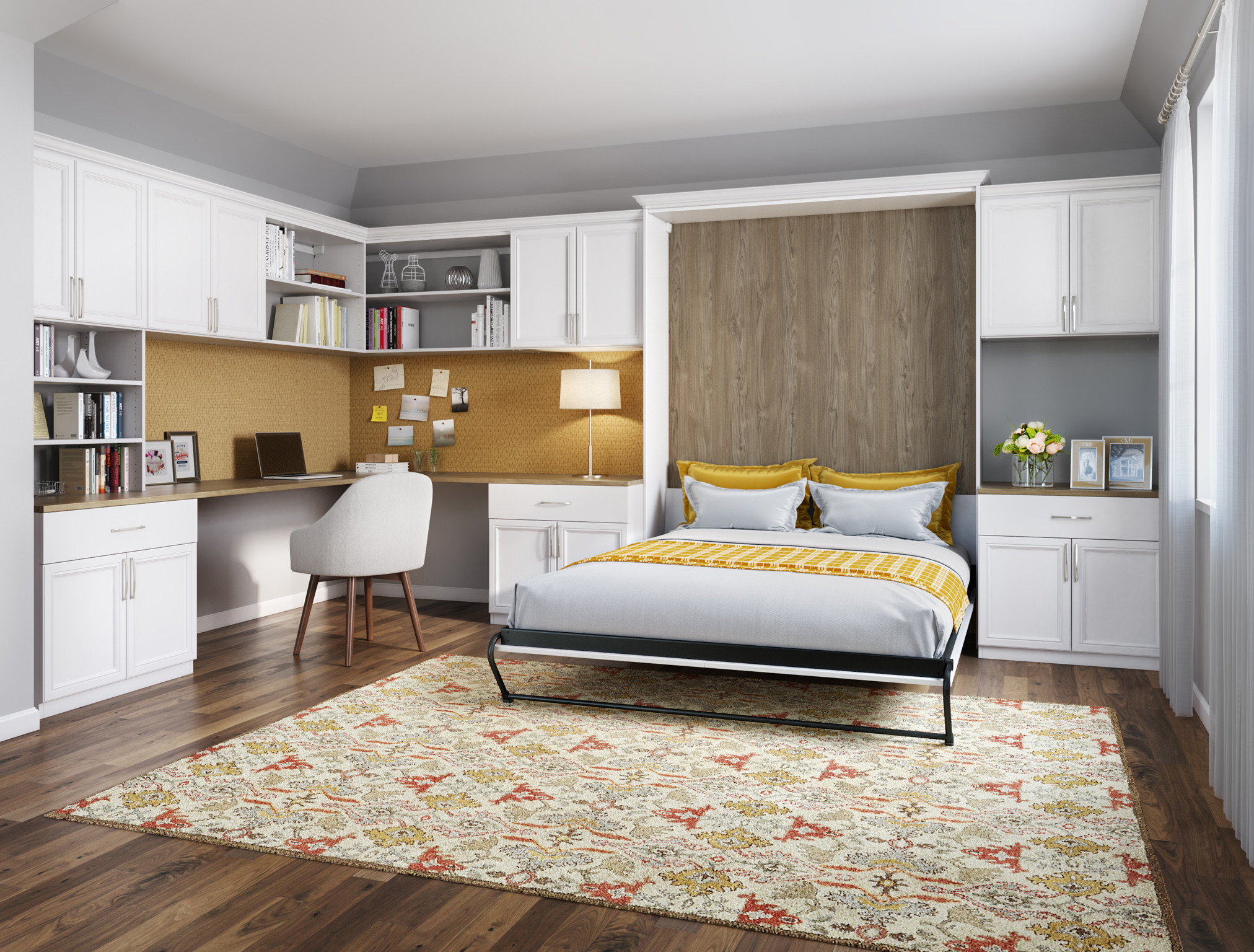California Closets Birmingham: Campbell Convertible Office with Murphy Bed Solution