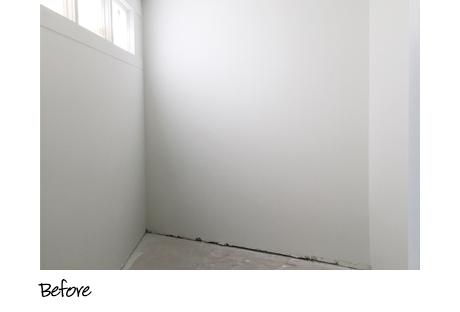 Clean white empty walls before California Closets installation
