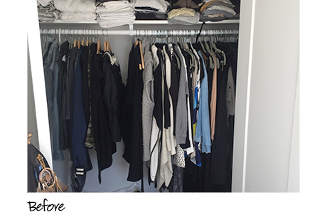 California Closets client Erin Swift's unorganized closet before installation