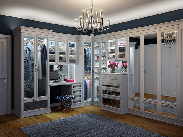 California Closets New York - Presidio Walk-in Closet with LED Lighting
