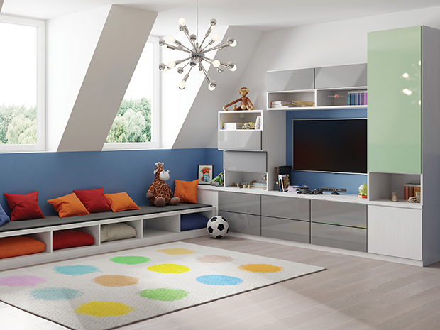 California Closets La Crosse - Cheery Attic Playroom with Storage Cabinets
