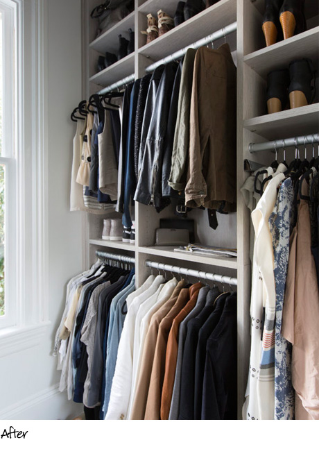 Organized clothing hanging in cream colored shelving