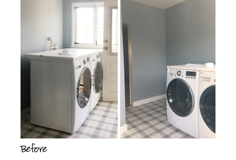 California Closets client Emily Henderson's plain laundry room before installation