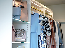 California Closets Client Story Becky Kung Velvet and Vino Closet Dresses and Bags