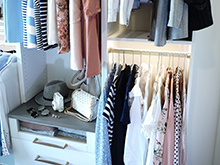 California Closets Client Story Becky Kung Velvet and Vino Open Shelf and Shirts