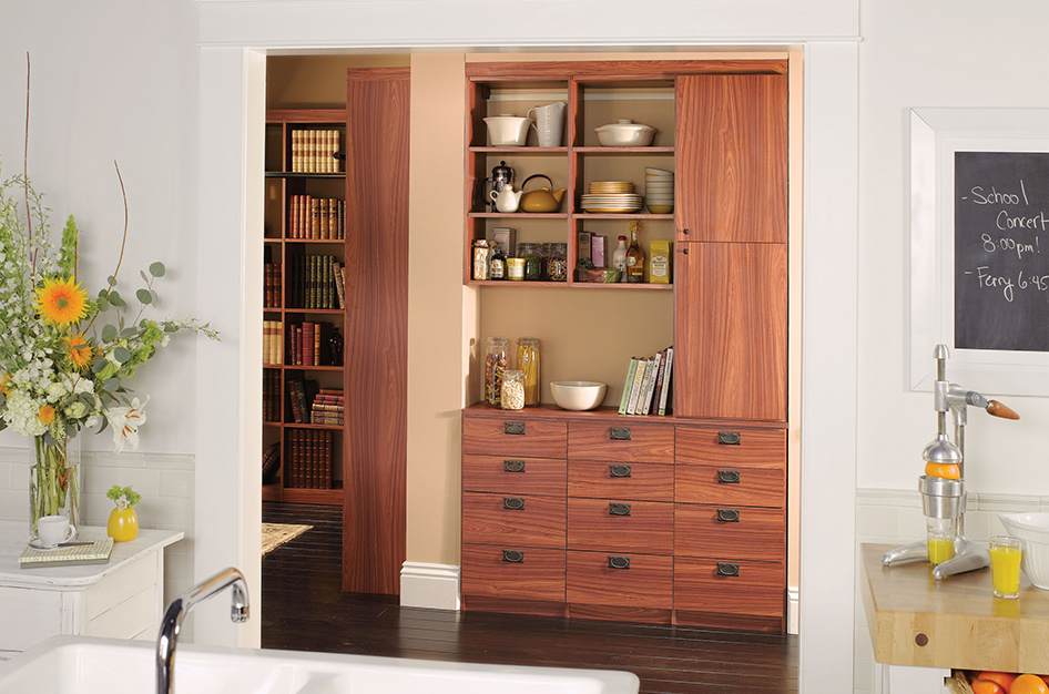 Rich mahogany cabinetry with open counter space and shelves.