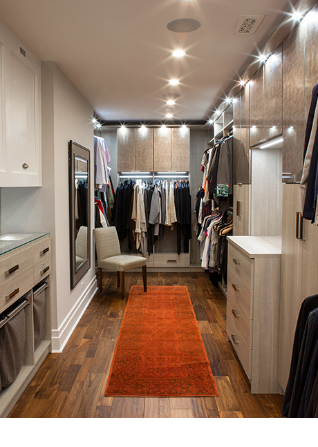 Local Client Story Debra Leb Walk in Closet with Accent Lighting and Polished Metal Hardware