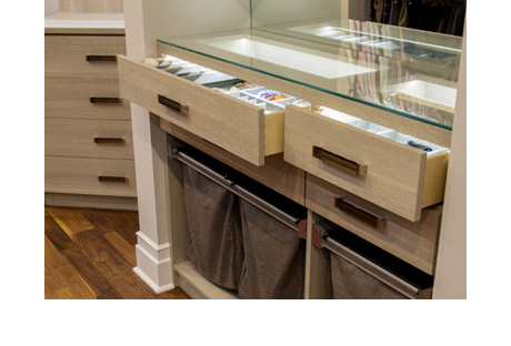 Local Client Story Debra Leb Close Up of Drawers with Glass Inserts