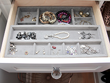 Client Stories Kari Skelton California Closets Organized Jewelry Drawer with Glass Hardware