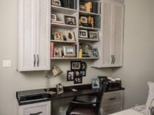 Melissa Maeker Commercial Client Story California Closets Adriatic Mist Desk with Dark Brown Table Top