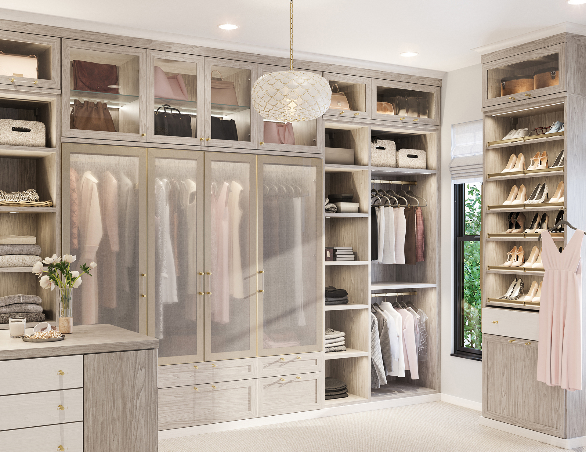 California Closets Brooks Master walk-in closet in Albero Grigio finish