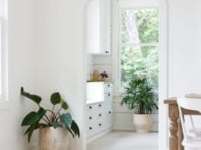 Camille Styles Client Story Butler Pantry in White Finish with Black Hardware