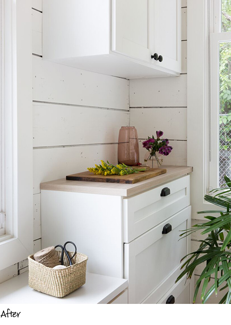 Camille Styles After the Transformation Classic White Countertop with Black Hardware