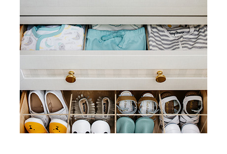 Dina Bandman Client Story Close Up of Shoe and Shirt Storage in new Closet System