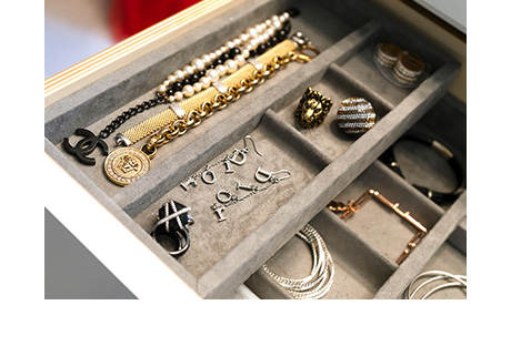 Client Stories Lana Alicia Close Up of Gray Velvet Lined Jewelry Box