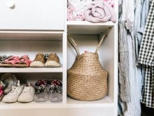 Client Story Samantha Wennerstrom Close Up of Shoes and Basket in Classic White Closet