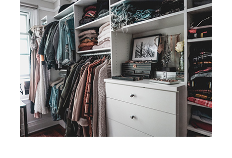Luanna Perez Light Gray Walk in Closet and Room with Stainless Hardware