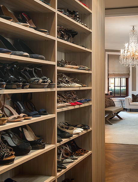 Shoe Storage System for Marigay McKee in Light Brown Finish