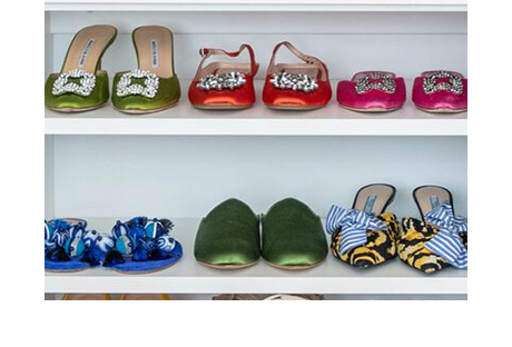 Client Stoey Christina Juarez Close Up of Shoes in Shelving in Classic White Finish