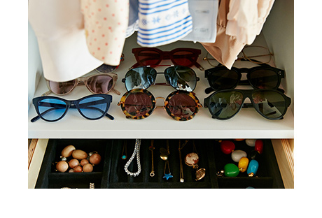 Close Up of Sunglasses Assortment and Jewelry Box in Black Velvet Finish