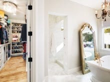View into Cindy Brunson's custom closet from her bathroom