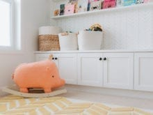 White front playroom storage cabinets