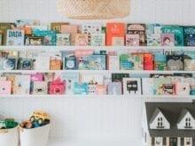 Custom shelving with childrens books organized