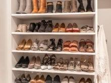Organized shoes shelves in the custom walk closet for blogger Lindsay Surowtiz