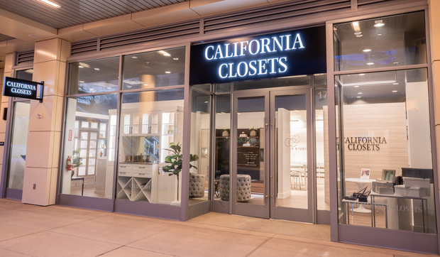 Front view of California Closets Summerlin showroom room with glass walls
