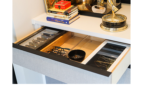 Custom pull out accessory drawer for sunglasses