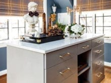 Grey island dresser with quartz top designed by Amber Colo and Sarah Smith